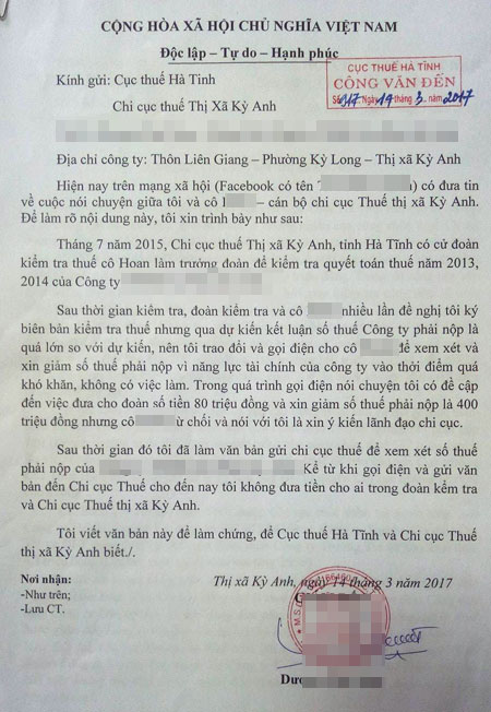 "lanh dao cuc thue ha tinh noi ve doan ghi am to can bo ""lam luat"" dn hinh anh 2"