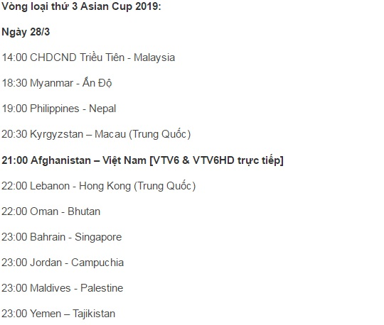 lich thi dau vong loai thu 3 asian cup 2019 (ngay 28.3) hinh anh 2