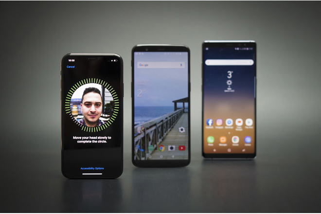 iphone x, galaxy note 8 hay oneplus 5t mo khoa khuon mat chuan nhat? hinh anh 1