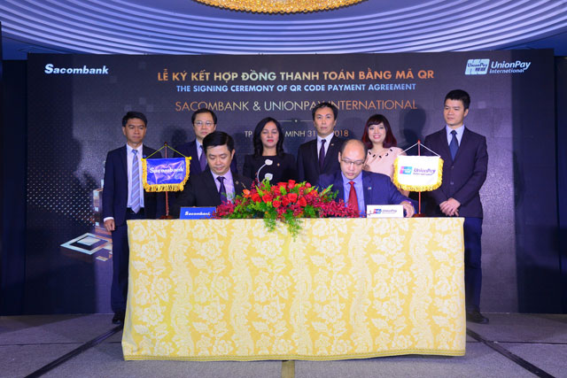 sacombank ky ket hop dong thanh toan bang ma qr voi unionpay international hinh anh 1