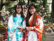 "Video - anh - Le hoi hoa anh dao: Thieu nu thue kimono chup anh ‎cho... ""chat"""