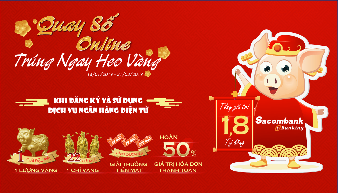 """""""quay so online – trung ngay heo vang"""" voi sacombank hinh anh 1"""