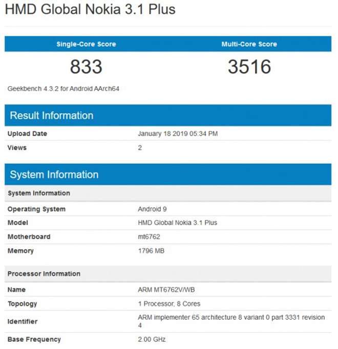 nokia 3.1 plus chay android pie xuat hien phep thu geekbench hinh anh 2