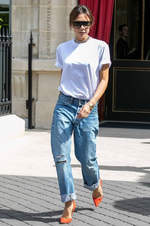 5 cach dien jeans sang trong cua victoria beckham hinh anh 2