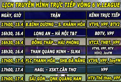 lich truyen hinh truc tiep vong 6 v.league 2016 hinh anh 1