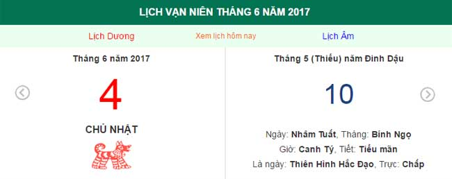 ngay am lich hom nay: ngay 4.6.2017 duong lich hinh anh 1