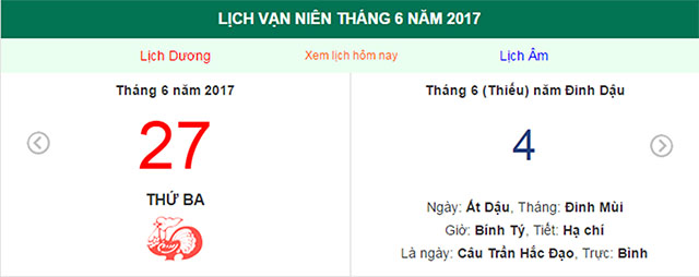 am lich hom nay (27.6): hom nay gio nao dep? hinh anh 1
