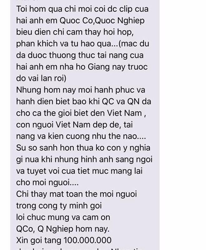 nu dai gia thuong nong 100 trieu dong cho quoc co, quoc nghiep hinh anh 2