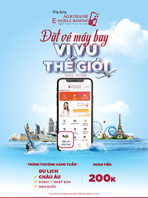"""""""dat ve may bay - vi vu the gioi"""" voi ung dung agribank e-mobile banking hinh anh 1"""