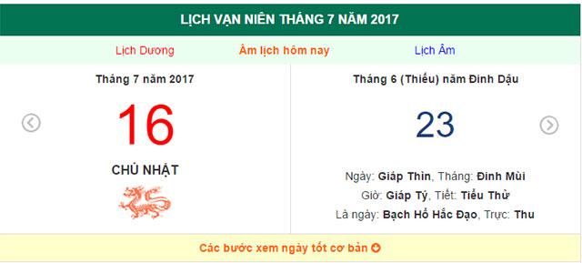 am lich hom nay (23.6, tuc 16.7 duong lich): hom nay gio nao dep? hinh anh 1