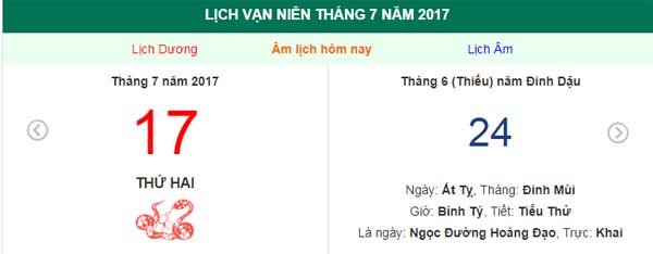 am lich hom nay (24.6, tuc 17.7 duong lich): nen xuat hanh gio nao? hinh anh 1