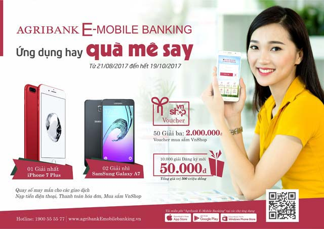 """trung iphone 7 plus voi agribank e-mobile banking """"ung dung hay – qua me say"""" hinh anh 1"""