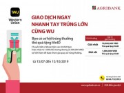 "Doanh nghiep - Cung Agribank ""Giao dich ngay – nhanh tay trung lon cung WU"""