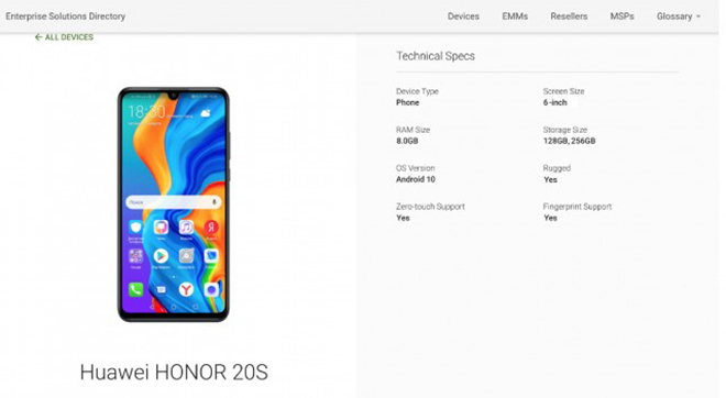 honor 20s xuat hien, dung ram 8gb hinh anh 1