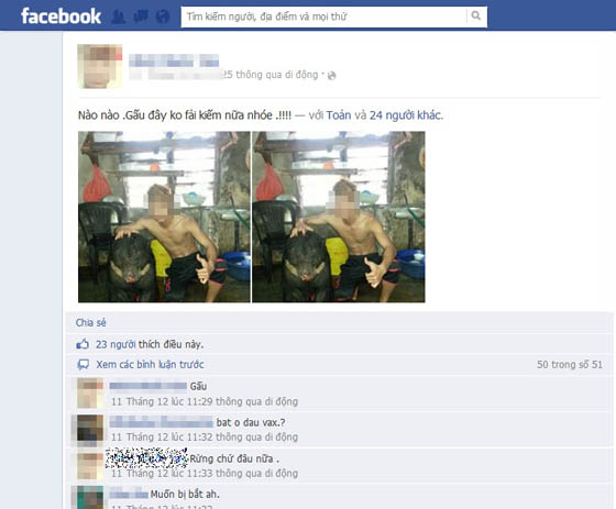 "ngang nhien khoe ""chien tich"" giet gau len facebook hinh anh 2"