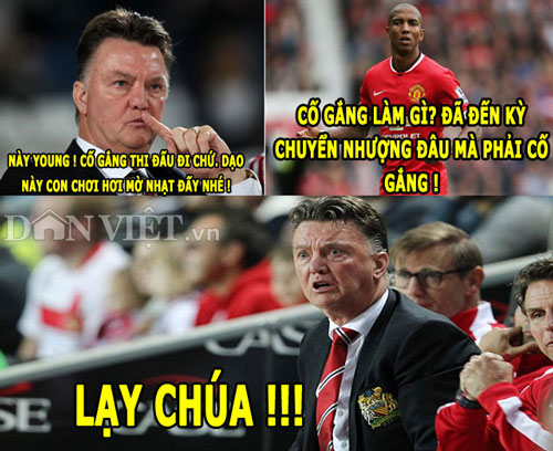"anh che: van gaal ""bat luc"" voi young, ronaldo khen ngoi messi hinh anh 1"