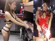 Hot girl ban thit xien nuong TQ khien quan an nuom nuop khach