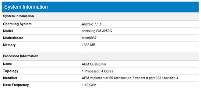 phat hien samsung galaxy j2 the he moi tren geekbench hinh anh 2