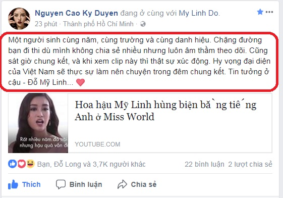 hh ky duyen xuc dong nhan gui hh do my linh truoc gio g miss world hinh anh 2