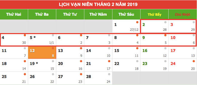 lich nghi chinh thuc tet duong lich, tet nguyen dan va cac ky nghi le 2019 hinh anh 1