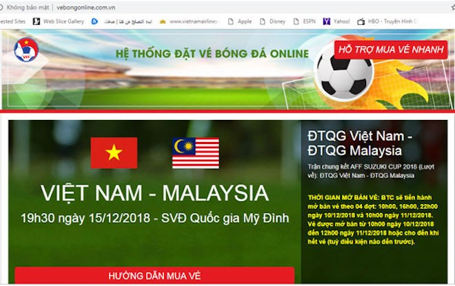 """sat """"gio g"""", vff phat hien website gia mao ban ve online tran viet nam - malaysia hinh anh 2"""