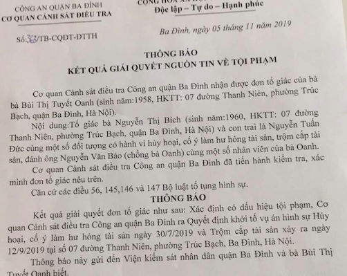 ha noi: khoi to vu an co y lam hu hong tai san tai so 7 duong thanh nien hinh anh 2