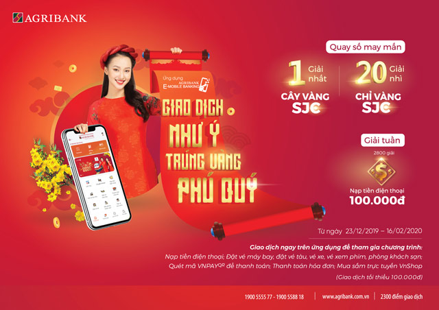 giao dich nhu y, trung vang phu quy voi agribank e-mobile banking hinh anh 1